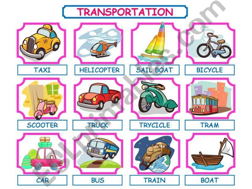 TRANSPORTATION PRESENTATION! powerpoint