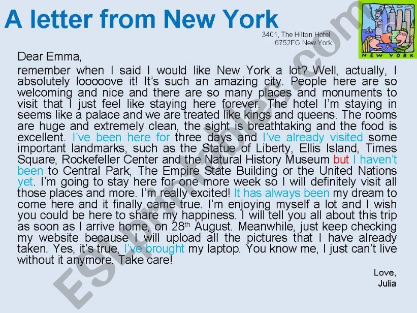 A letter from New York powerpoint