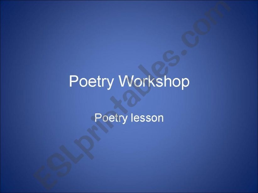 Poetry Workshop powerpoint