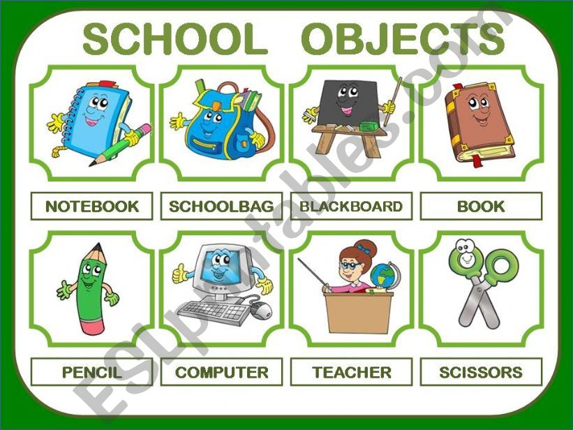 SCHOOL OBJECTS PRESENTATION 24 ITEMS!