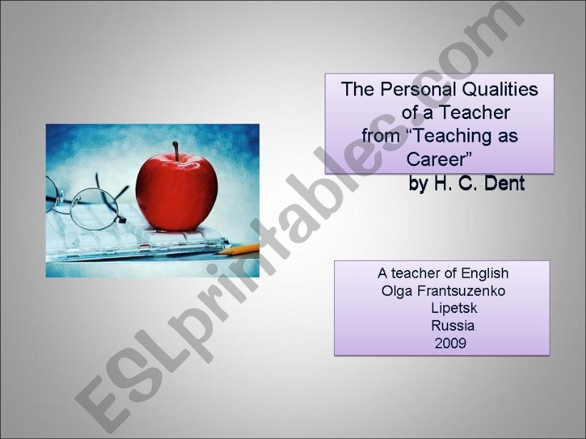 The Personal Qualities of a Teacher