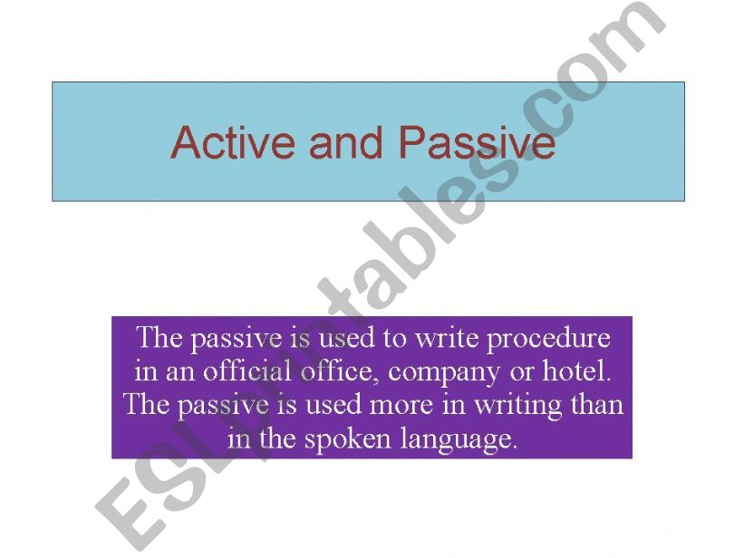 Active and Passive tenses powerpoint