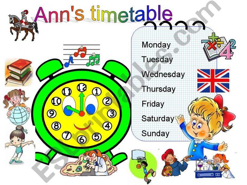 Ann´s timetable powerpoint