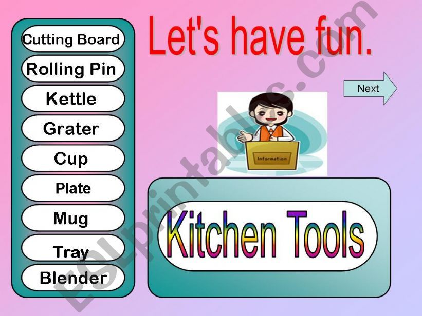 Game - Kitchen Tools powerpoint