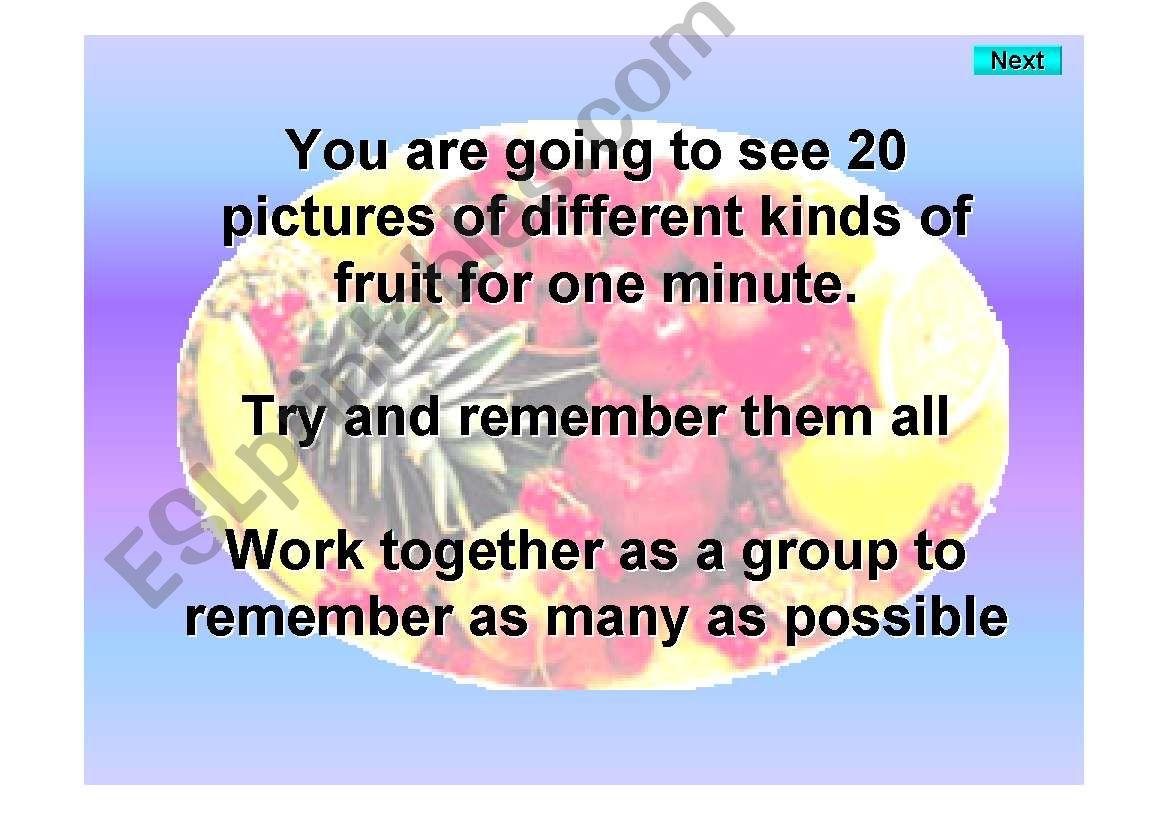 Fruit - Kim´s game 2 powerpoint
