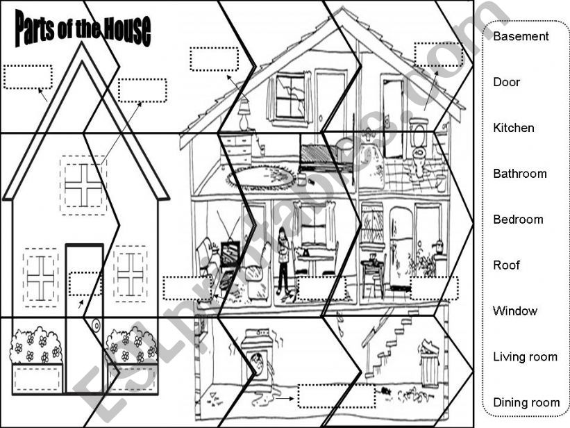 Puzzle Parts of the House powerpoint