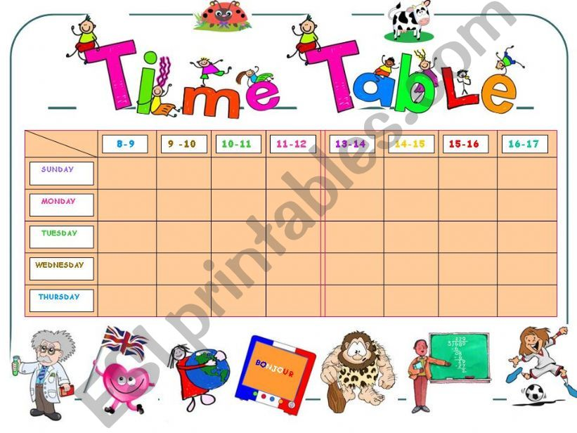 MY TIME TABLE   (adjustable.)