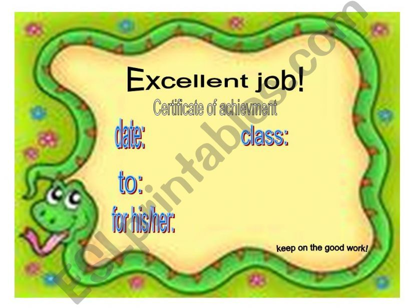 reward/recognition certificates