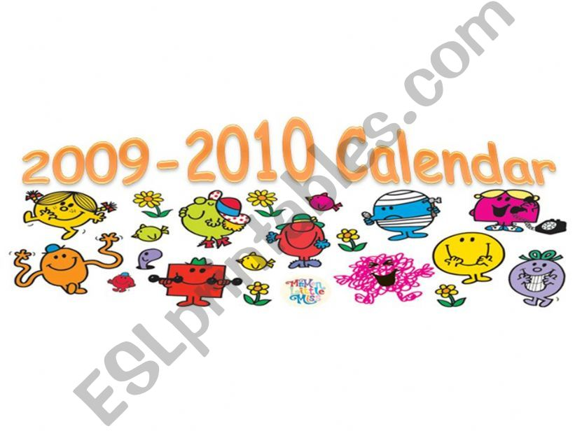 MR MEN CALENDAR COVER powerpoint