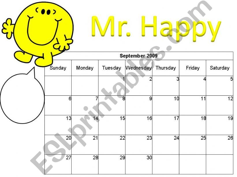 PART 1 Mr Men Calendar powerpoint