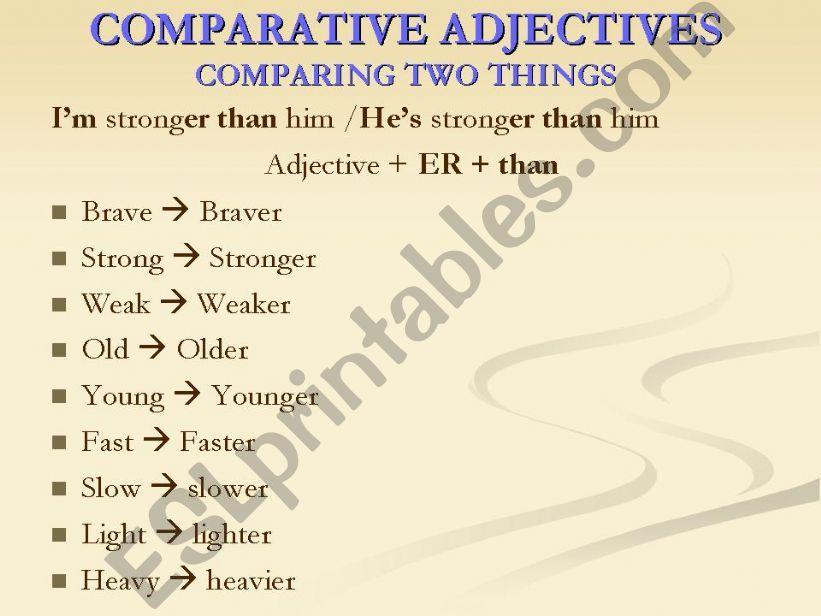 Comparative and superlative short adjectivies