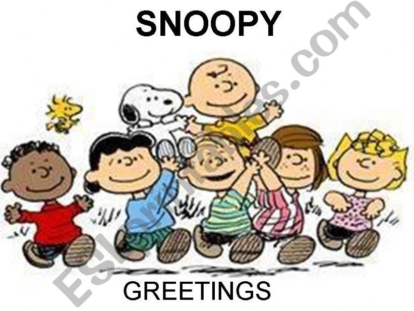 GREETINGS WITH SNOOPY powerpoint