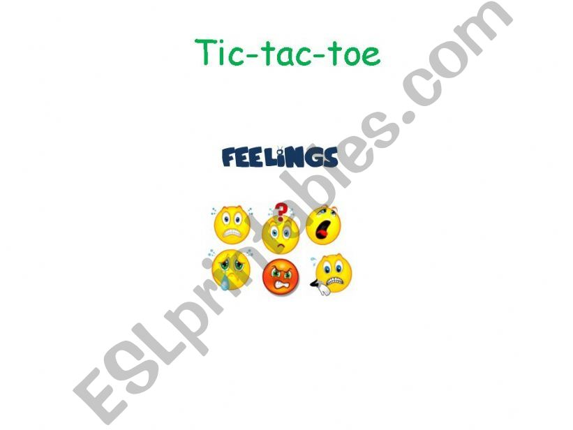 Feelings Tic-tac-toe powerpoint
