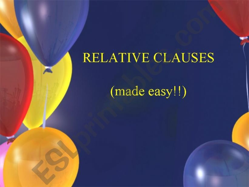 Relative Clauses for intermediate students