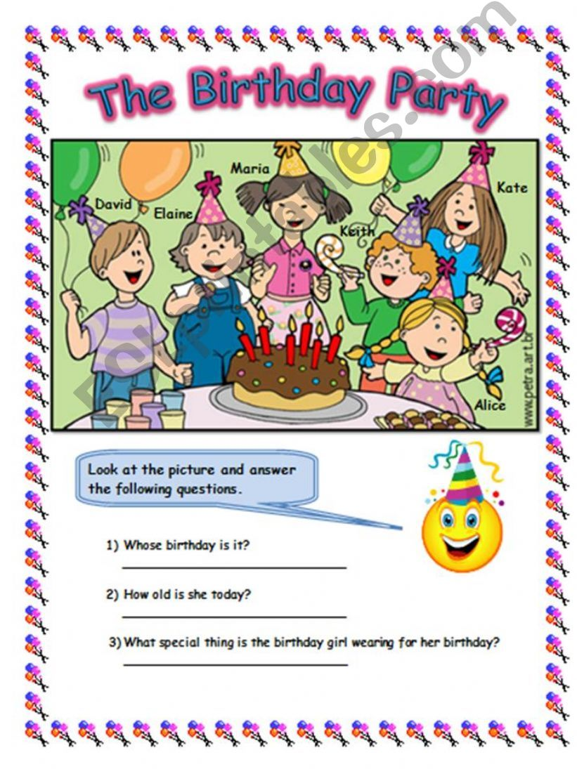 look at the picture and answer the question -THE BIRTHDAY PARTY - 2PAGES worksheet