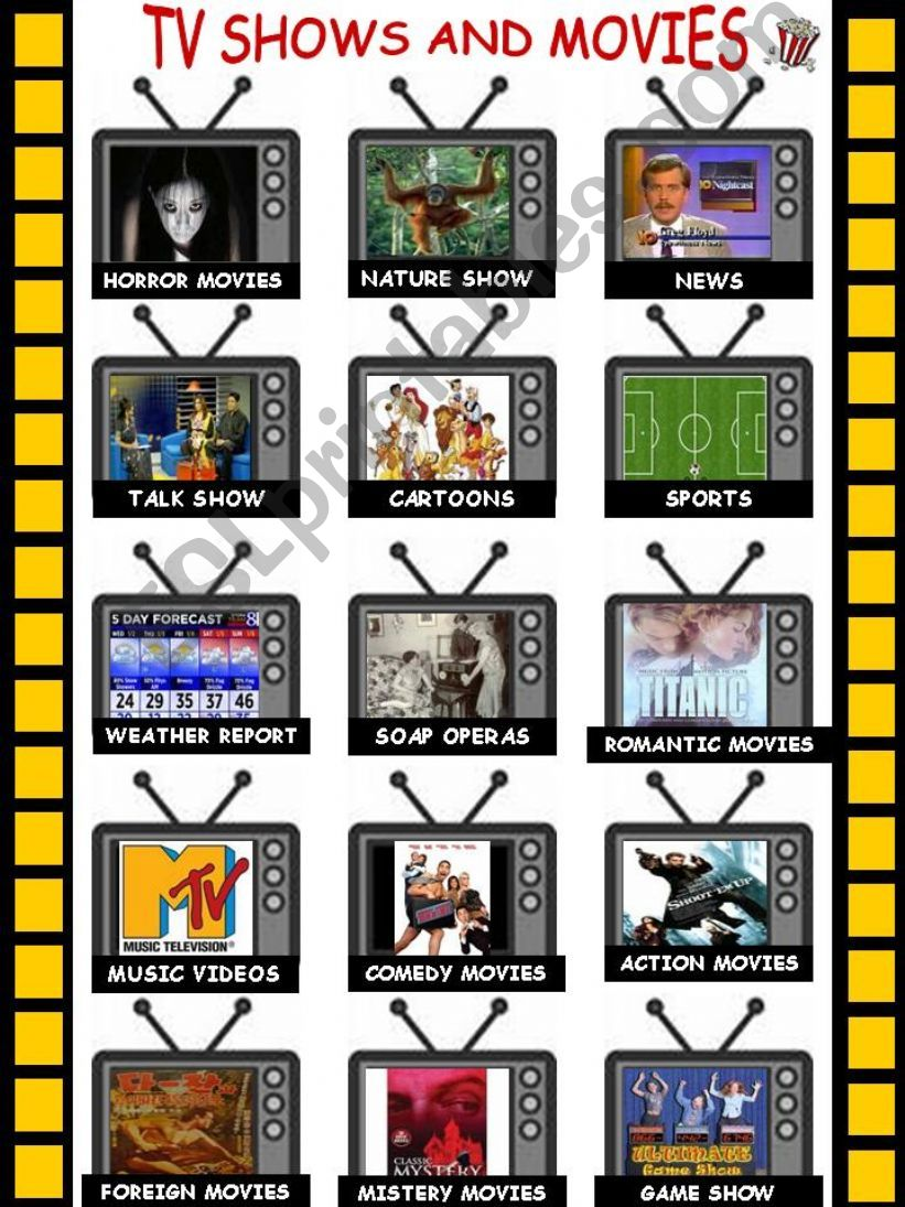 TV shows and movies (2 pages) powerpoint