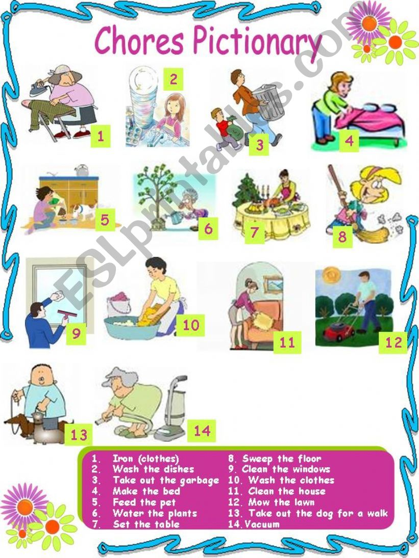 Chores Pictionary (3 pages) 2 activities