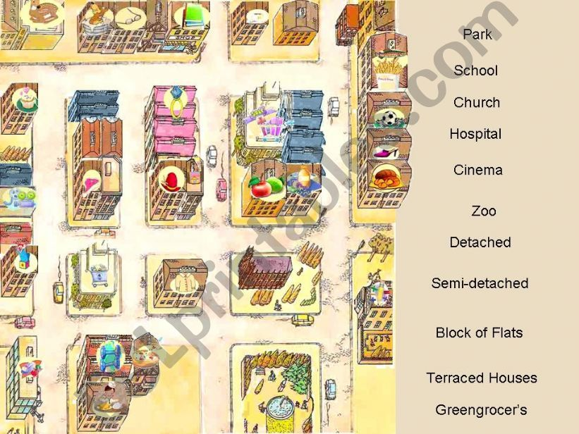 Shops, Houses and Places in the city - Interactive Game (fully editable) - Part 1 of  3