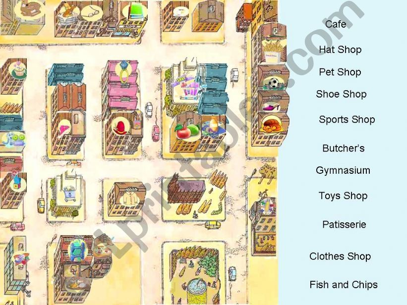 Shops, Houses and Places in the city - Interactive Game (fully editable) - Part 2 of  3