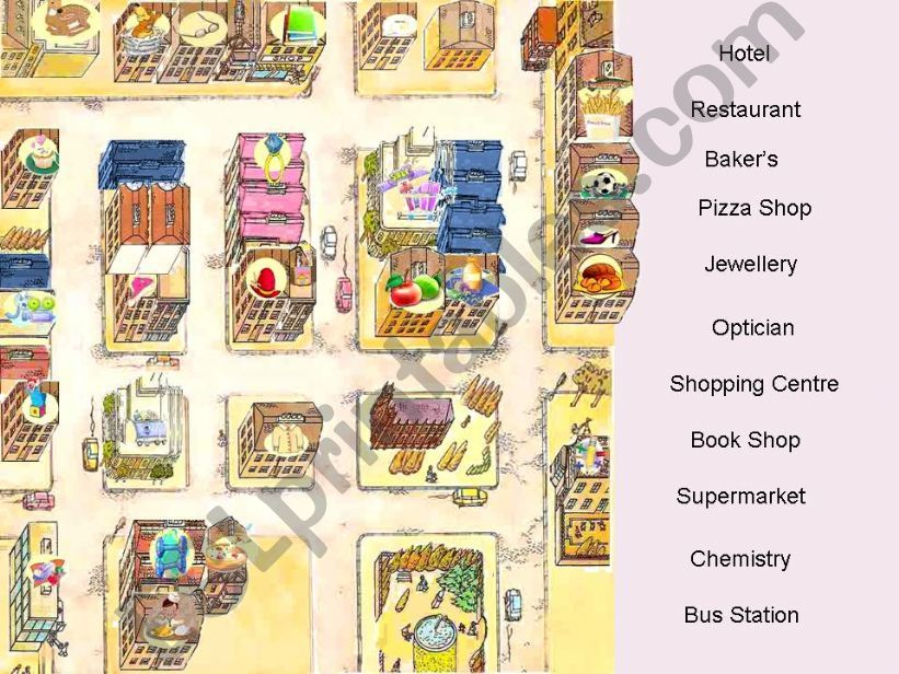 Shops, Houses and Places in the city - Interactive Game (fully editable) - Part 3 of  3