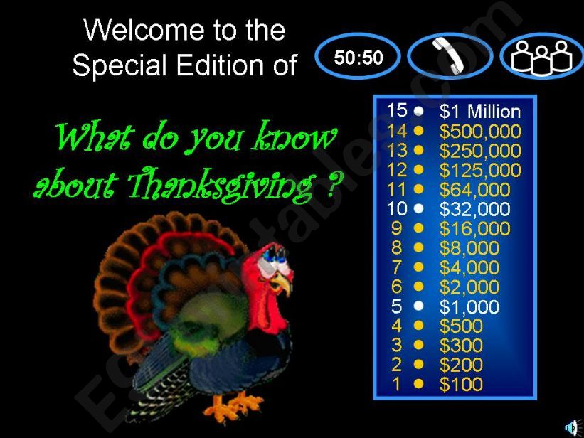 THANKSGIVING DAY - WHO WANTS TO BE A MILLIONAIRE 1