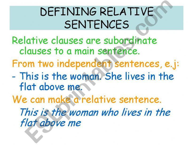 Defining relative sentences powerpoint