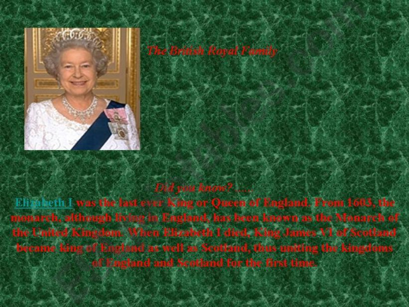 British Royal Family powerpoint