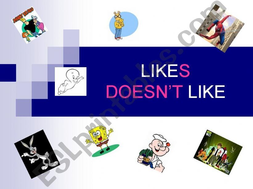 likes/doesn´t like with cartoon characters