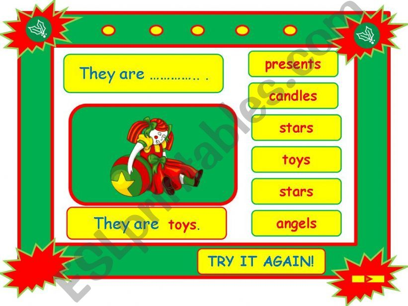 Festivals - CHRISTMAS vocabulary game part 5