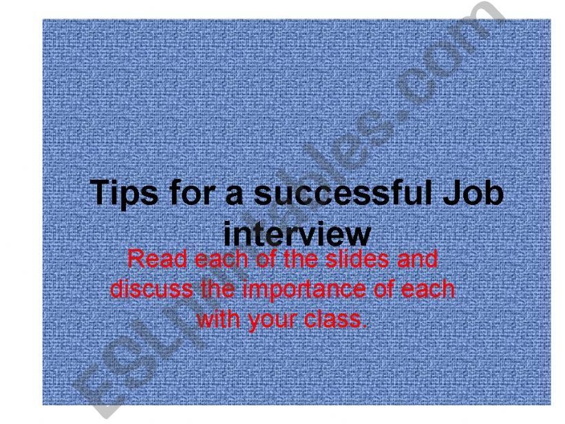 Tips for a successful job iterview