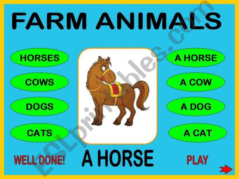 Farm animals + WS powerpoint