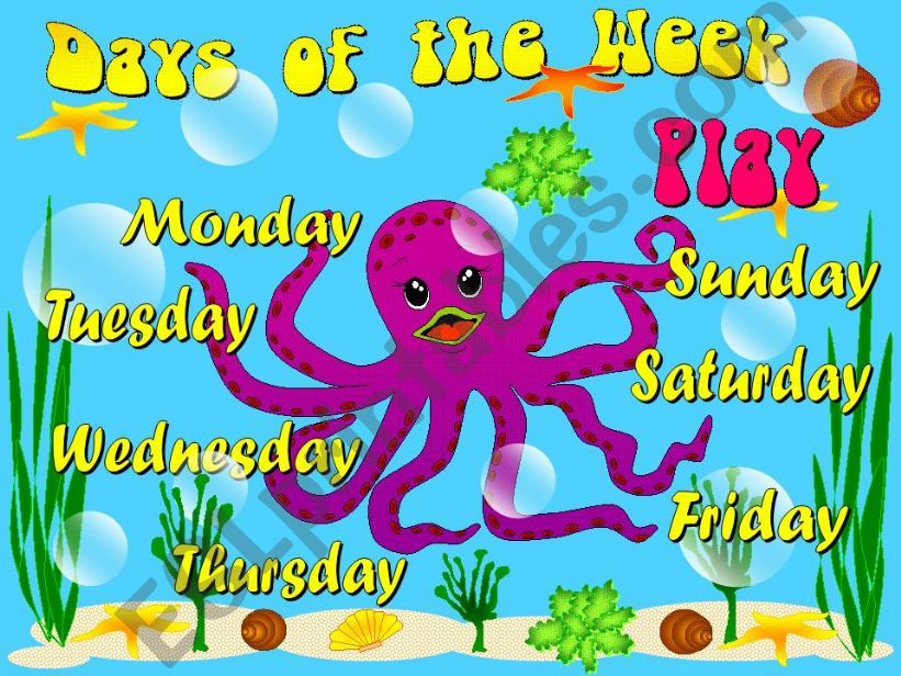 esl english powerpoints days of the week game