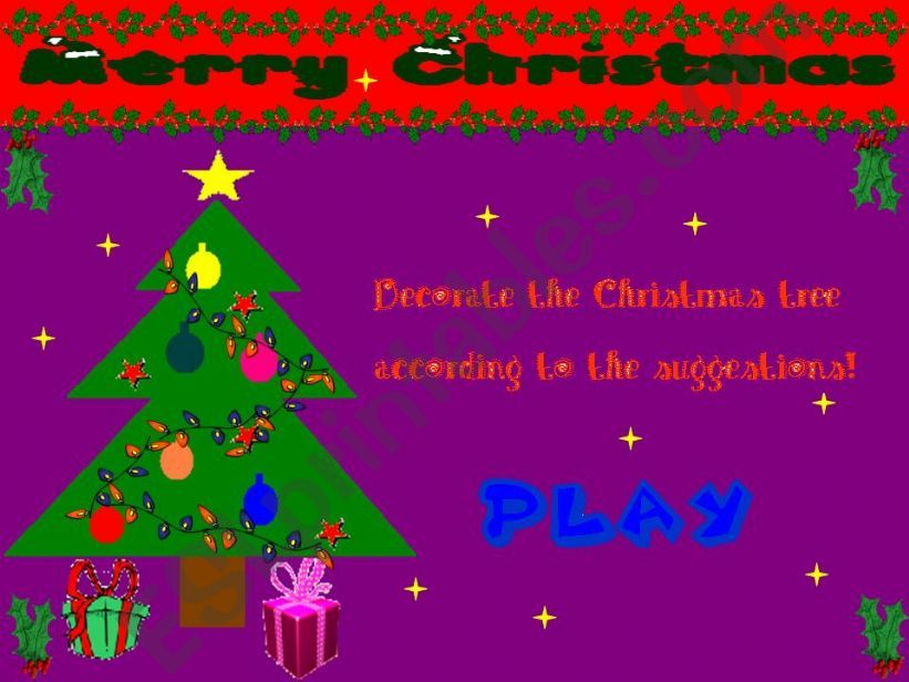 English PowerPoints: Decorate The Christmas Tree