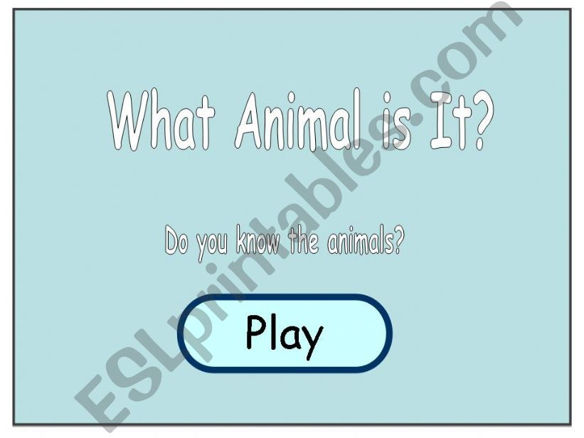 What Animal is It? powerpoint