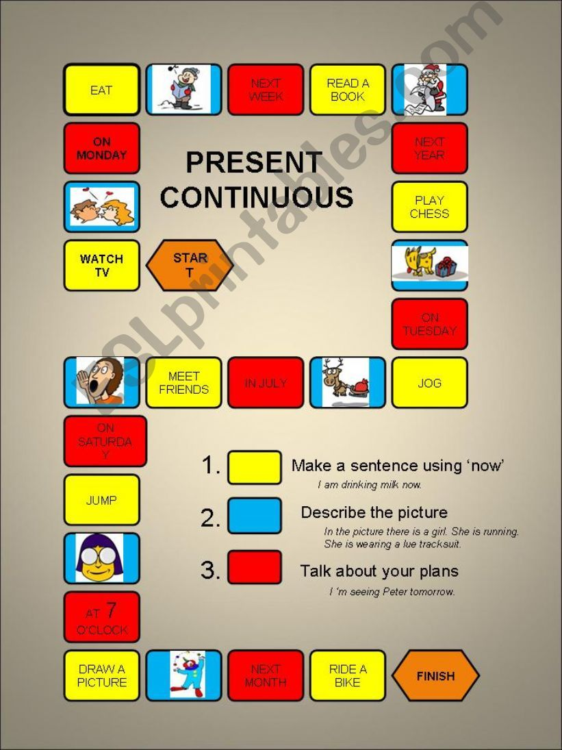 Present Continuous - a boardgame-fully editable