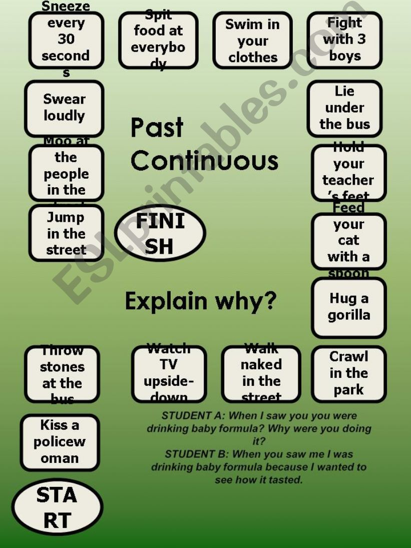 Past Continuous - a boardgame - explain why?-editable