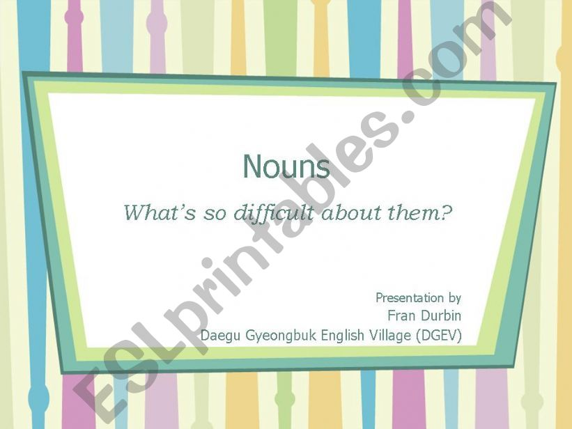 Count and Non-count Nouns powerpoint