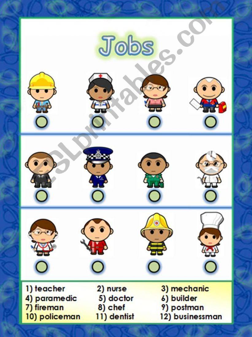 jobs or occupations - An attractive and useful worksheet (14.08.08)