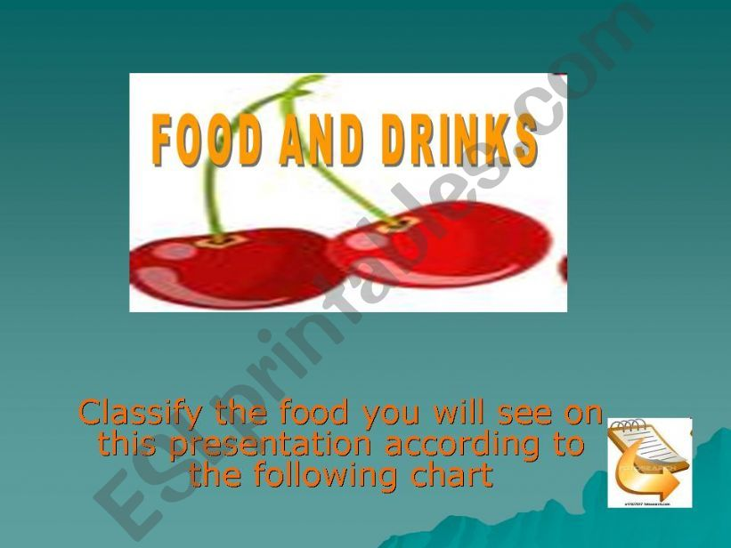 Classify food and drinks according to their category (1/2)