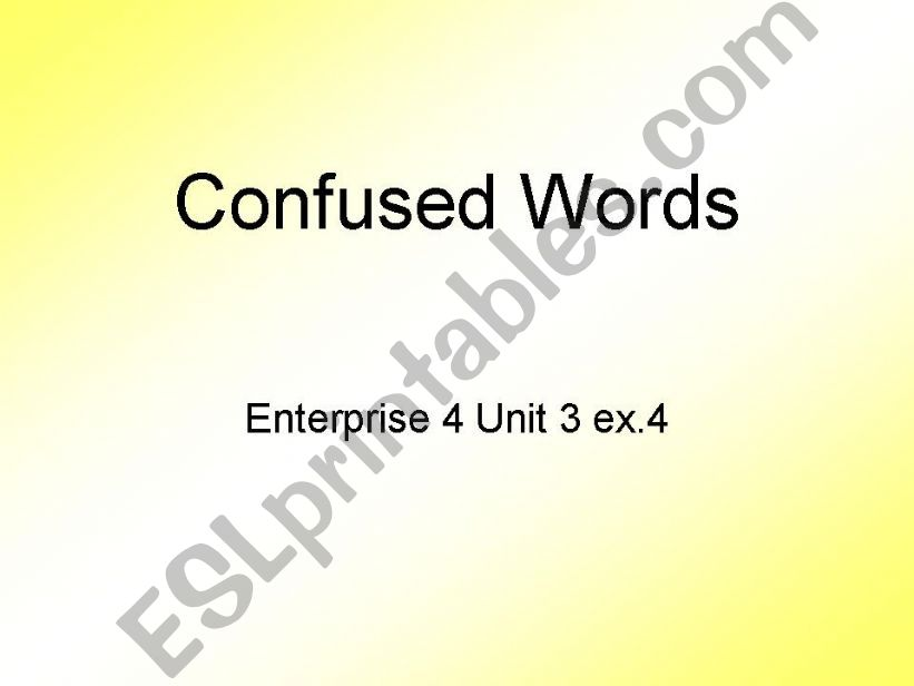Confused words powerpoint