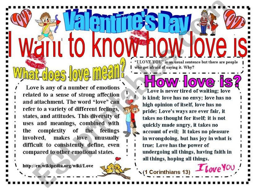 PPT: Valentine´s Day (Talking about love)