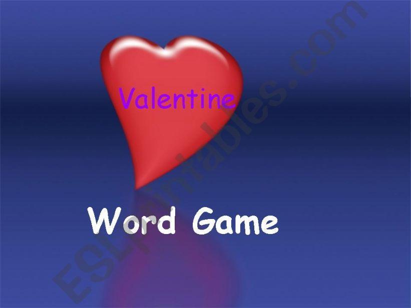 Word Game: Valentine powerpoint