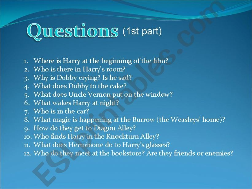 ESL - English PowerPoints: Harry Potter and the Chamber of