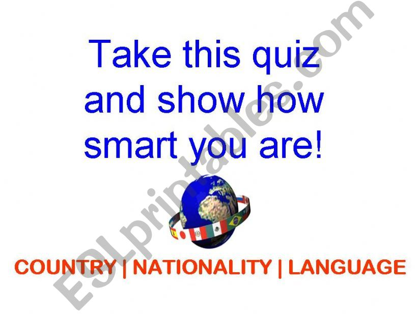 Country   Nationality   Language Quiz