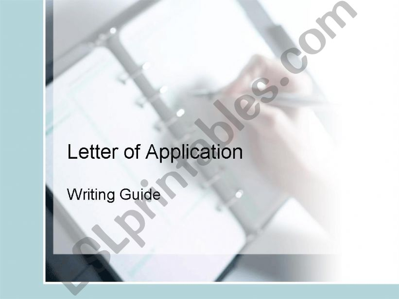 Letter of Application Intermediate Writing Guide