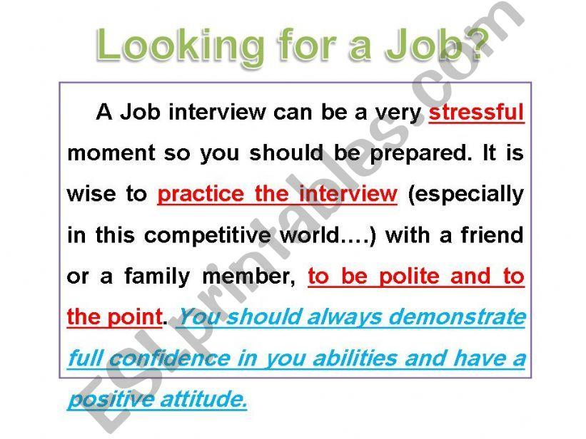 ESL - English PowerPoints: Looking for a job / Job ...