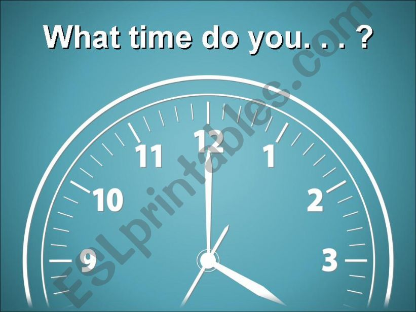 Telling Time and Daily Activities (Part I)
