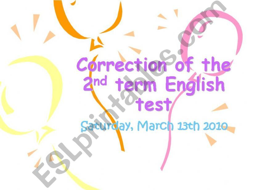 correction of the 2nd term english test