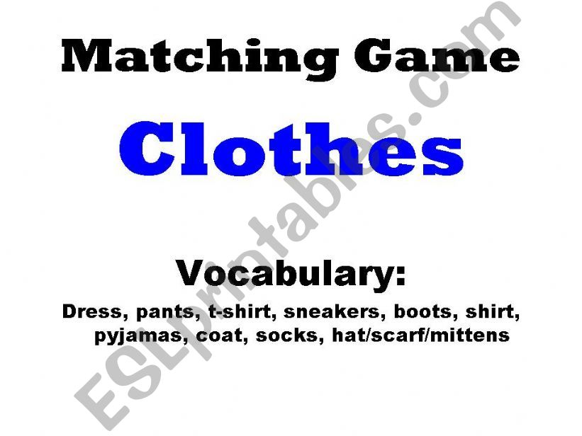 Matching Game - Clothes powerpoint