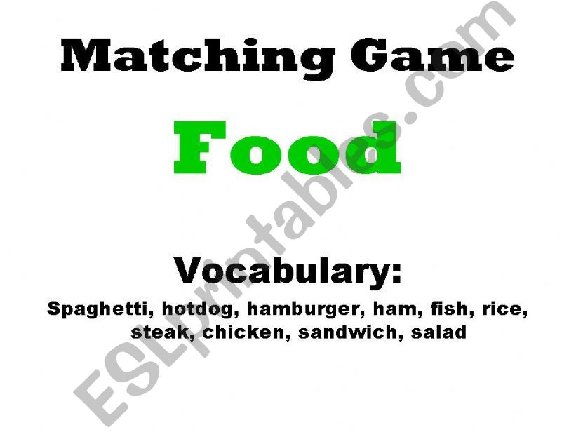 Matching Game - Food powerpoint